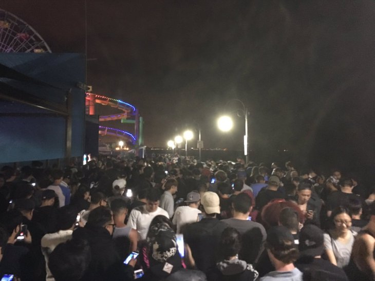 Pokemon Go Crowd at Santa Monica Pier July 2016